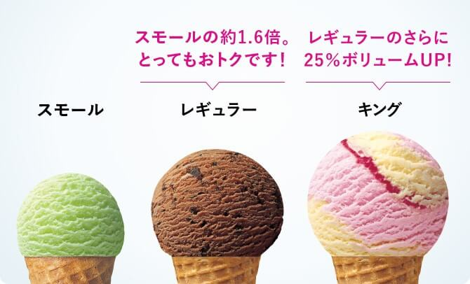 サーティワンアイスクリームのサイズ
